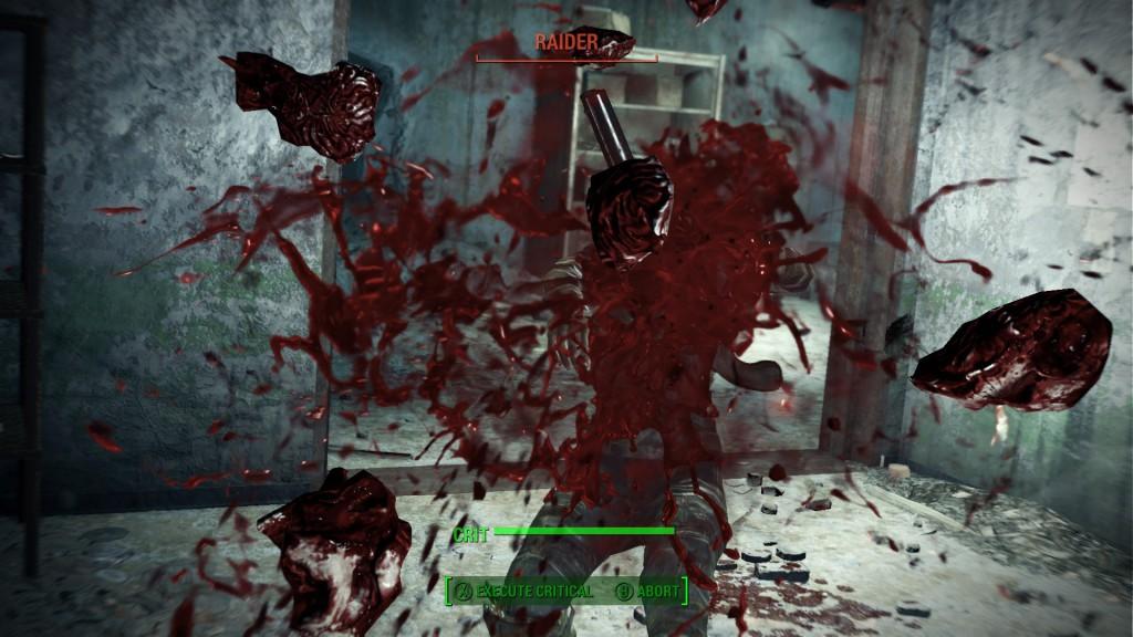 Fallout nelosen yleisin näkymä: vihollisen tuskallisen hidas kuolema.